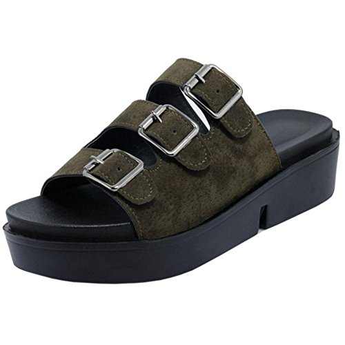TAOFFEN Women's Casual Sandals Mules Shoes Green