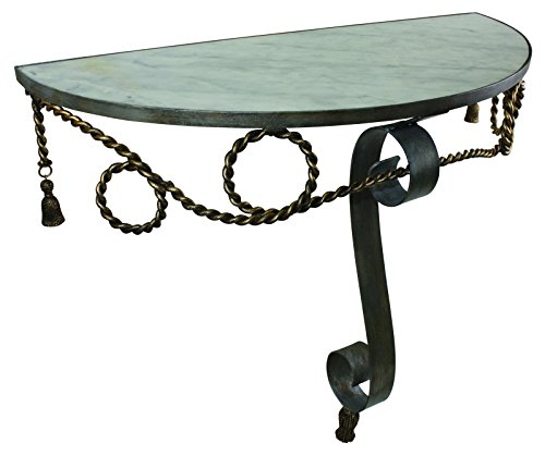 Amazing Decor Demilune Console/Hall Table with Faux Steel and Antique Gold Finish with White Marble Top
