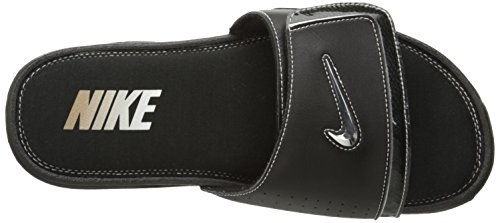 Nike Mens Comfort Slide 2 Sandalo Nero / Argento Metallizzato / Bianco