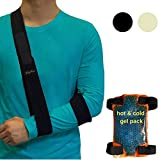 BodyMoves Arm Sling PLUS Hot and Cold Hand Ice Pack for shoulder surgery rotator cuff elbow immobilizer for men,women,kids Left or right wrist injuries fracture treatment