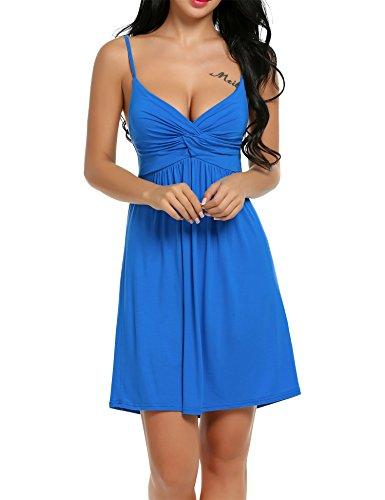 Cotton Slip Chemise - Hotouch Women's 100% Cotton Nightwear Chemise Slip Sleepwear Blue XXL