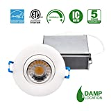 Hi-Bright 3 Inch Gimbal Recessed LED Down light,120V, 8W, 3000K, Dimmable, Warm White, 600 Lumens, CRI 80, Air-Tight, IC Rated, Energy Star, cETLus listed, 5-year warranty, Damp location, 50,000 hours