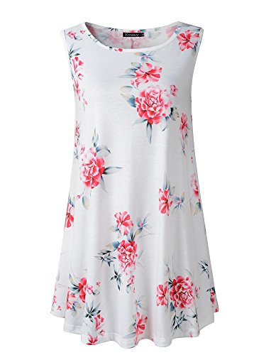 Veranee Women's Sleeveless Swing Tunic Summer Floral Flare Tank Top (3XL, 6-8)