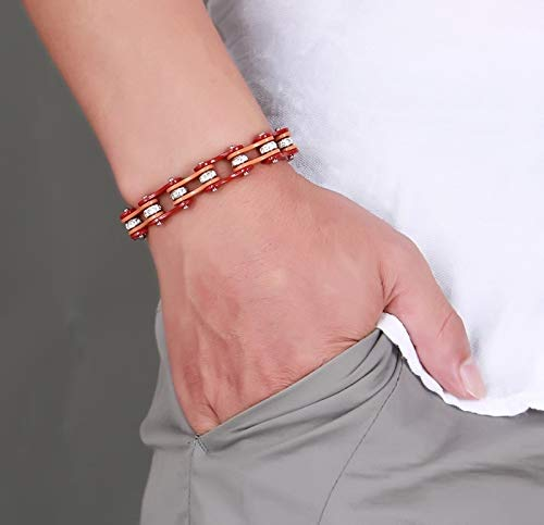 Men's Two Tones Heavy Bicycle Bracelets | Male Brown with White Crystal Centers Bike Chain Bangles Jewelry (7.8 Inches)