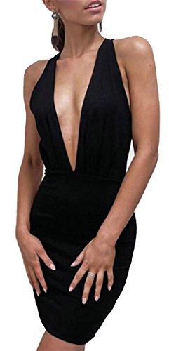 Maniche Delle Jaycargogo Tuffo Bodycon Attraversare Donne Mini Sexy Abito Nuovo Senza Nero Collo Di dYUgw6Unx