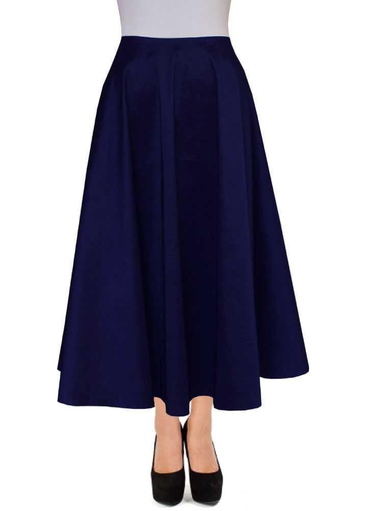 E K Women's ankle length taffeta skirt Long evening formal prom party skirt-m-Navy Blue-und