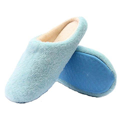 [Women Indoor Household Floor Slipper Warm Soft Shoes (Light Blue)] (Child Star Wars Costume Australia)