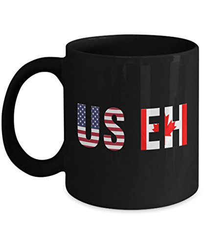 Canada Vintage Flag (USEH America Canada Flag mug Funny American Canadian cups-Funny USA-mugs for American and Canadian holidays-vintage the eh team-happy Canada day)