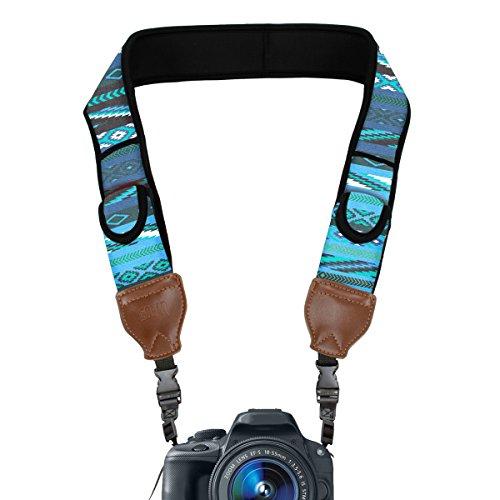 TrueSHOT Camera Strap with Blue Southwest Neoprene Pattern a