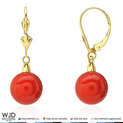 10 mm Ball Shaped Red Coral Leverback Dangle Earrings 14K Solid Yellow Gold 1