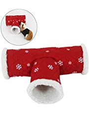 UEETEK Small Pet Animal Christmas Tunnel Toy Winter Warm Fleece Tube Hideout Bed Playing Channel for Hamster/Gerbil Rat/Guinea Pig