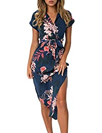 d565742d7ee Women s Wrap V Neck Spaghetti Strap Floral Split Beach Casual Dress