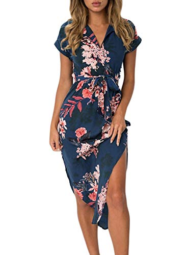 Women's Short Sleeve Sexy V Neck Floral Geometric Print Side Split Summer Casual Beach Midi Dress with Belt Navy Plus Size XXL 18 20