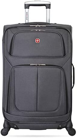 SwissGear Sion Softside Luggage with Spinner Wheels, Dark Grey, Checked-Medium 25-Inch