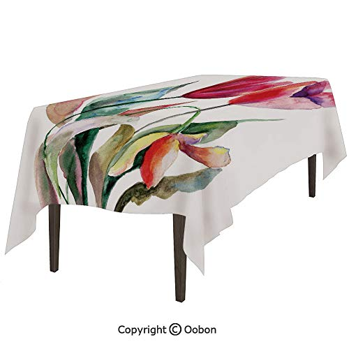 oobon Space Decorations Tablecloth, Watercolor Tulip Flowers Bouquet Feminine Beauty Spring Revival Image Decorative, Rectangular Table Cover for Dining Room Kitchen, W60xL84 inch