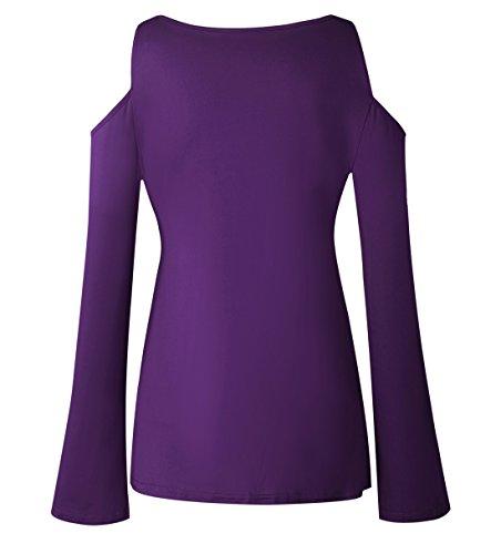 Unie Dcollet Manches Lac Femmes Longues Violet t Chemisiers Blouses Retro Top Chemises Tops T Mode Couleur Bustier Sexy Shirt Bustier Mocael Tunique 6Xpxn5UU