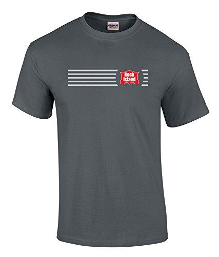 Railroad Island Rock (Rock Island Logo Tee Shirt Charcoal Adult XL [tee19])