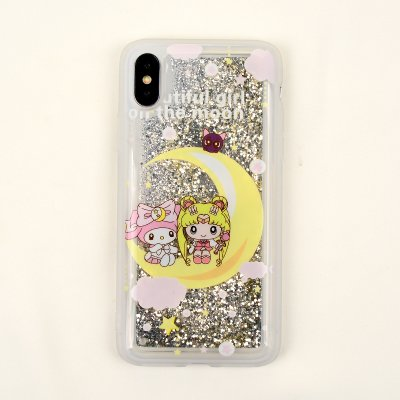 (Glitter Flowing White Silver Sailor Moon Luna Cat Case for iPhone X 10 iPhoneX Gold Glittery Sparkling Water Liquid Floating Soft TPU Shockproof Fun Special Stylish Bling Fashion Gift Girls Kids Women)