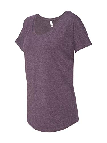 Blank Apparel - Next Level Apparel Women's Tri-Blend Dolman Top, Vintage Purple, Large