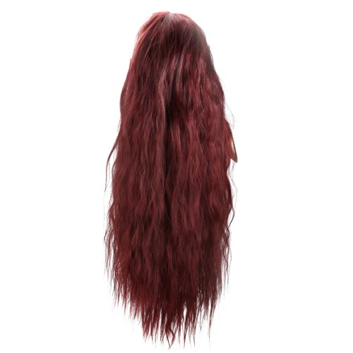 [Women Corn Perm Fluffy Long Curly Wig Oblique Bangs Hair (Wine Red)] (Perm Wigs)