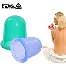 Anti Cellulite Cup Cupping Therapy Set Body Massage Cups Includes 1 Soft (Green) and 1 Hard (Blue) Cups