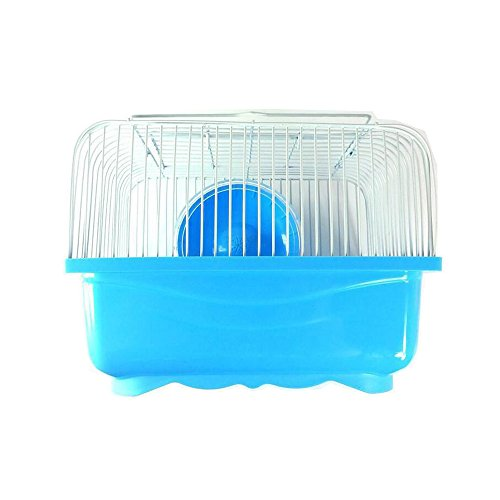 ChooseU Rodent Accessories Hamster Supplies Critter Feeder Transparent Super Plastic Exercise Running Wheel Hamster Cages (Blue) (Cage Chameleon Glass)