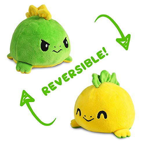 🥇 TeeTurtle The Original Reversible Stego Plushie Patented Design | Green and Yellow | Show Your Mood Without Saying a Word!