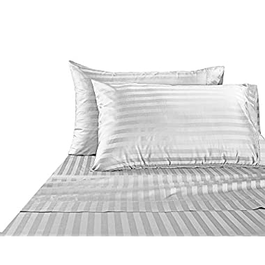 Hotel Collection Luxury Egyptian Cotton Bed Sheet Luxury 1000 Thread count 100% Egyptian Cotton Ultra Soft 4 Piece Stripe Sheet Set, Queen - White