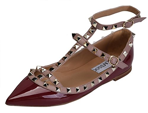 Ysl Buckle - CAMSSOO Women's Metal Studs Strappy Buckle Pointy Toe Flats Comfortable Dress Pumps Shoes Wine Red Patant PU Size US6 EU38