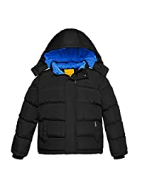Wantdo Boy's Thicken Puffer Jacket Padded Winter Coat with Detachable Hood