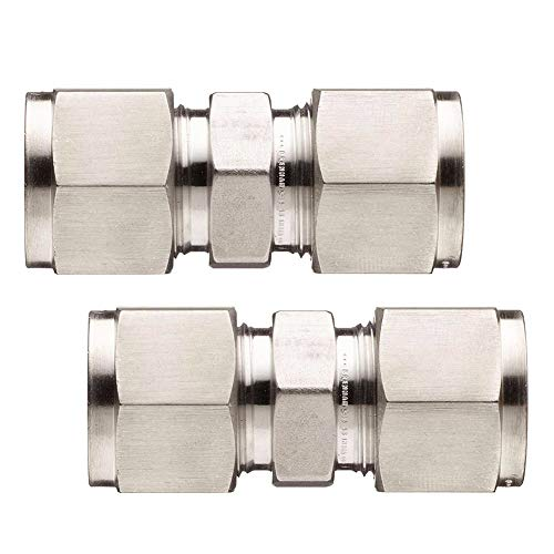 Beduan 304 Stainless Steel 10mm D10 Equal Straight Compression Coupler Ferrule Tube Double Female Pipe Fitting Adapter Pipe Connector (Pack of 2) ()