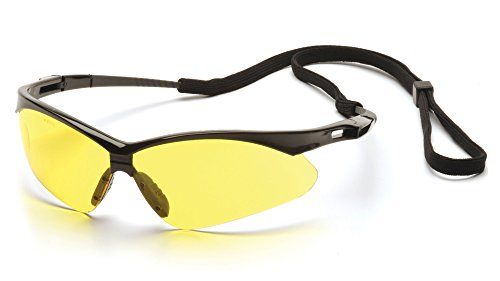(Pyramex PMXTREME Glasses Black Frame/Amber Lens with Cord)