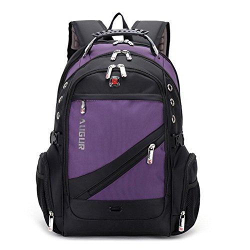 Travel Outdoor Computer Backpack Laptop Bag (Purple) - 5