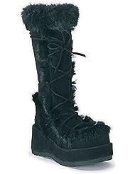 Demonia 2 3/4 Inch Platform Knee Boots Black Suede Fleece Cuff Gothic