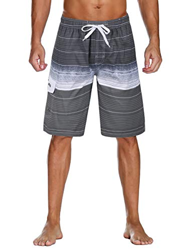Unitop Men's Swim Trunks Surfing Beach Board Shorts Colorful Striped Printed with Lining Gray 36