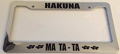 Am I License Plate Frames (Hankuna Matata - Ain't No Worries - Chrome Automotive License Plate Frame - Simba)