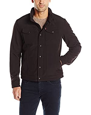 Men's Soft Shell Stand Collar Commuter Trucker Jacket