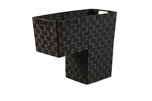 HomeModele Step Basket Stair Storage Basket Organizer with Handles Nylon-Woven (Black) (Black)
