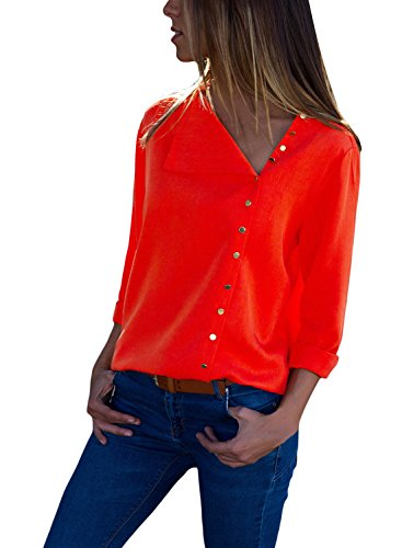 e3e89c9dbe549 Womens Blouses Long Sleeve Button Detail Loose Fitting Casual Solid Chiffon Blouse  Tops Shirt