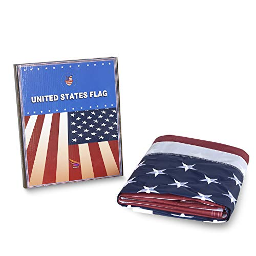 AMAPON American US Flag 2x3 Foot, Made of Heavyweight Nylon for Outside and Inside Use,Embroidered Stars and Brass Grommets,All Weather Tough Durable Fade Resistant,4 Rows of Lock Stitching