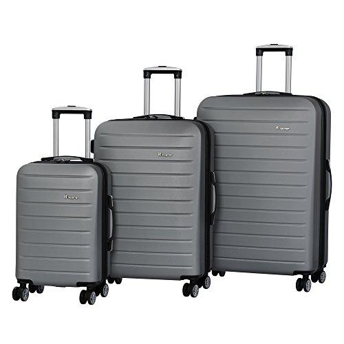 IT Luggage Legion 3-Piece 8-Wheel Hardside Expandable, Aluminum White