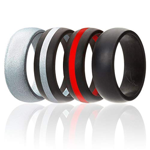 ROQ Silicone Wedding Ring for Men, 4 Pack Silicone Rubber Band - Silver, Black, Black with Thin Red Stripe, Black with Silver Stripe, Size ()