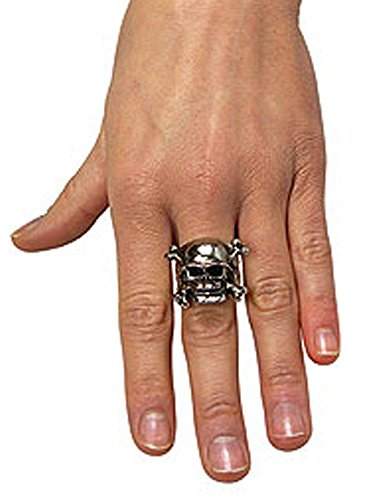 Rubie's Costume Co Adjustable Skull Ring with Pewter Finish, One Size, Multicolor]()
