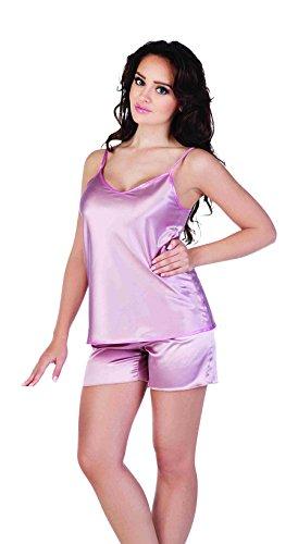 Frauen Einfach Monochrom Kurze Hose Und Weste Satin Schlafanzug Set Rosa xcrat9eAgD