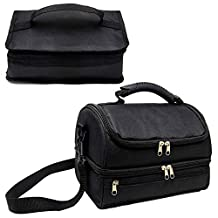 2 Adult Lunch Box. Bundle of 2 Insulated Lunch Bag. 1 Double Deck Cooler Bag and 1 Portable Thermal Insulated Mini Lunch Bag for Men, Women. Black