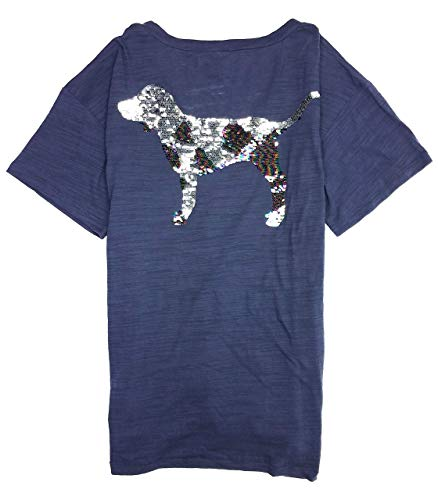 (Victoria's Secret Pink Women's Short Sleeve Sequin Dog Tee Blue Large)