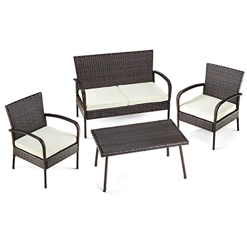 Pamapic 4 Piece Patio Furniture, All Weather Mix Brown PE Rattan Wicker Chair Sets with Washable Seat Cushions Coffee Imitation Wood Table Top, Indoor Outdoor, PS