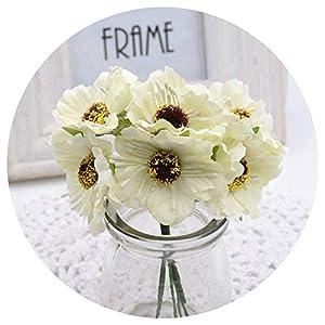 6Pcs 3.5Cm Mini Silk Cherry Artificial Poppy Bouquet DIY Handmade Tattoo Wedding Decoration Craft Fake Flower,Milk White 36