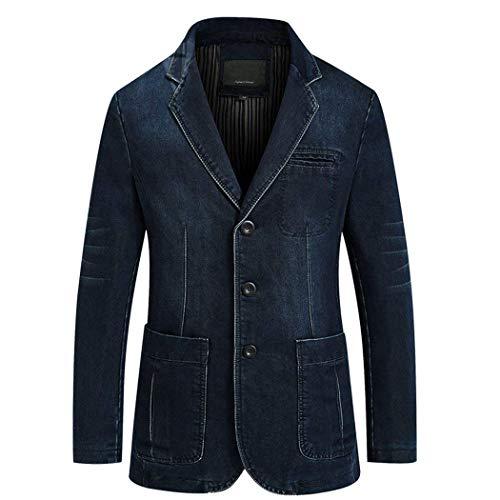 Lunga Transizione Da Casual Navy Blazer Abbigliamento Outwear Denim Libero Fit Jeans Slim Adelina Uomo Risvolto Manica Di Giacche Tempo qvxAS1