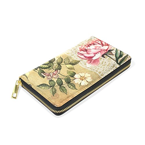Wallet Around Zip Clutch Organizer Floral Womens Handbags And Vintage Watercolor TIZORAX Purses vqHfPf